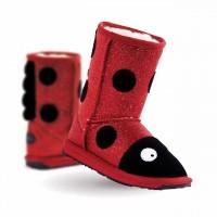 新西兰直邮 UGGEMU  K10904小童羊皮毛金粉闪亮瓢虫中筒雪地靴