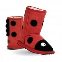 新西兰直邮 UGGEMUEMU K10111小童羊皮毛卡通瓢虫中筒雪地靴