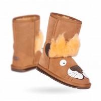 新西兰直邮 UGGEMU K11429CHE儿童羊皮小狮子 中筒雪地靴(栗色)
