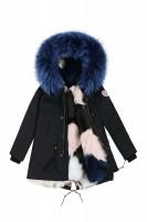 【澳洲 EDGII】 ED1032 (黑+冰激凌深海蓝狐狸毛)皮草大衣派克 顺丰包邮