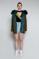【澳洲 EDGII】 ED1035 (绿+湖蓝狐狸毛)皮草大衣派克 顺丰包邮