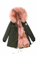 【澳洲 EDGII】 ED1034 (绿+粉狼毛)皮草大衣派克 顺丰包邮