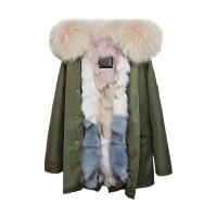【澳洲 OZLANA】AU182012(绿+奶茶色冰淇凌狐狸毛)国内现货包邮皮草大衣