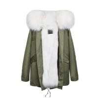 【澳洲 OZLANA】AU182003 (绿+白色狐狸毛)国内现货包邮皮草大衣