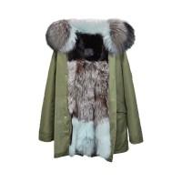 【澳洲 OZLANA】AU182013(绿+蓝段色狐狸毛)国内现货包邮皮草大衣