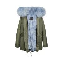 【澳洲 OZLANA】AU182006(绿+雾霾蓝狐狸毛)国内现货包邮皮草大衣