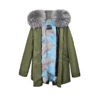 【澳洲 OZLANA】AU182014(绿+蓝灰拼接狐狸毛)国内现货包邮皮草大衣
