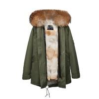 【澳洲 OZLANA】AU182010(绿+本色狼毛)国内现货包邮皮草大衣