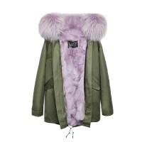 【澳洲 OZLANA】AU182007(绿+薰衣草紫狐狸毛)国内现货包邮皮草大衣