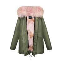 【澳洲 OZLANA】AU182009(绿+粉色狼毛)国内现货包邮皮草大衣