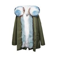 【澳洲 OZLANA】AU182017(绿+鲨鱼纹白色狐狸毛)国内现货包邮皮草大衣