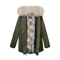【澳洲 OZLANA】AU182018(绿+奶茶格子狐狸毛)国内现货包邮皮草大衣