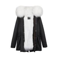 【澳洲 OZLANA】AU182019(黑+白色狐狸毛)国内现货包邮皮草大衣