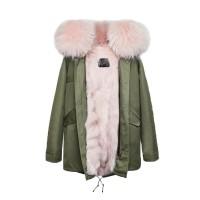 【澳洲 OZLANA】AU182005(绿+粉色狐狸毛)国内现货包邮皮草大衣