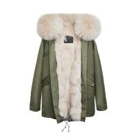 【澳洲 OZLANA】AU182008(绿+奶茶色狐狸毛)国内现货包邮皮草大衣