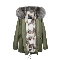 【澳洲 OZLANA】AU182004(绿+银色狐狸毛)国内现货包邮皮草大衣