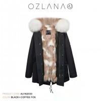 【澳洲 OZLANA】AU182033(黑+奶咖满天星狐狸毛)国内现货包邮皮草大衣
