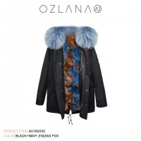 【澳洲 OZLANA】AU182032(黑+蓝棕拼接狐狸毛)国内现货包邮皮草大衣