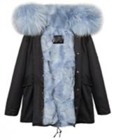 【澳洲 OZLANA】AU182024(黑+雾霾蓝狐狸毛)国内现货包邮皮草大衣